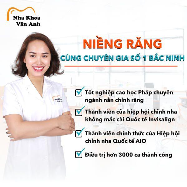 Bác sĩ Vân Anh - chuyên gia niềng răng với nhiều năm kinh nghiệm